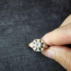 Gold plated cubic zirconia cocktail ring